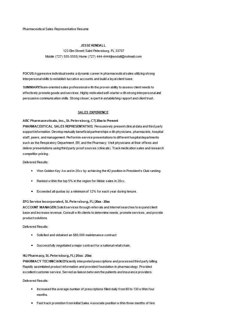 Pharmaceutical Sales Representative Resume Main Image
