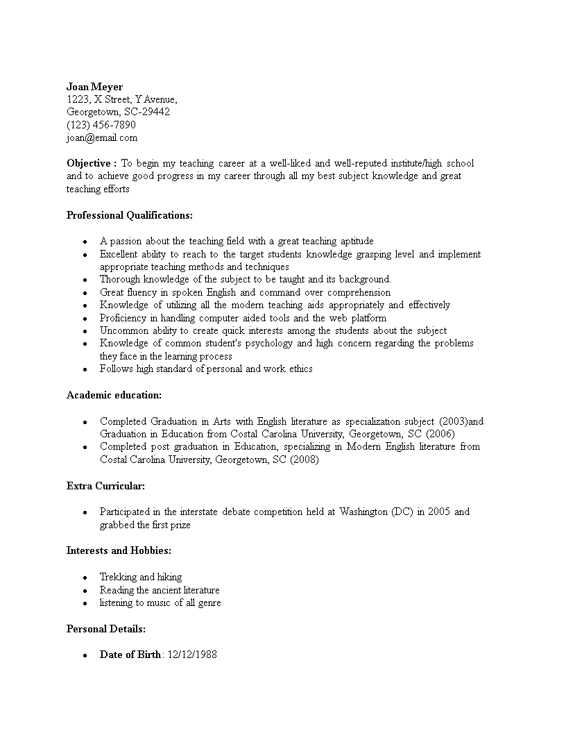Free Fresher Teacher Resume Sample Templates At