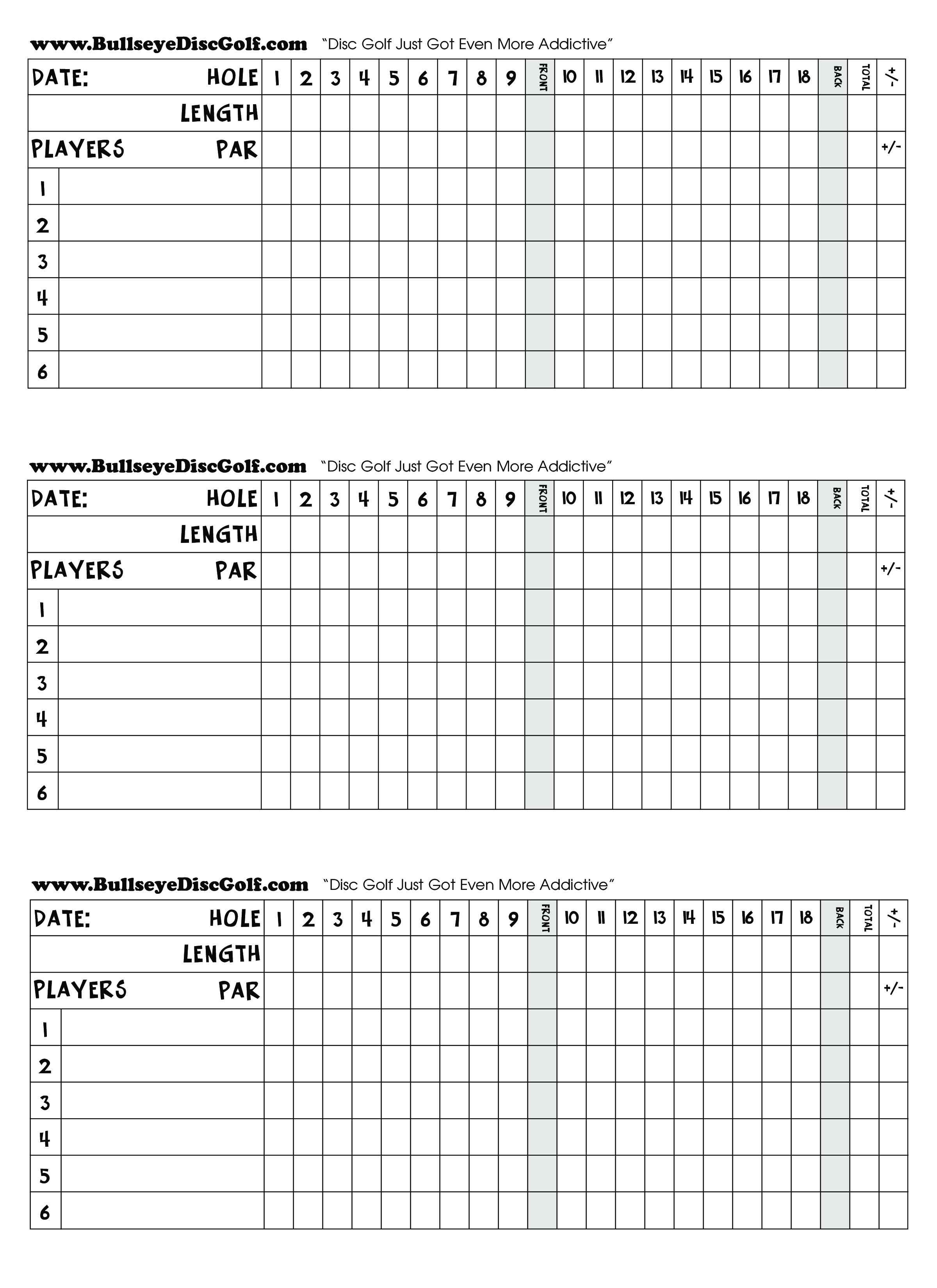 Golf Scorecard Main Image Template