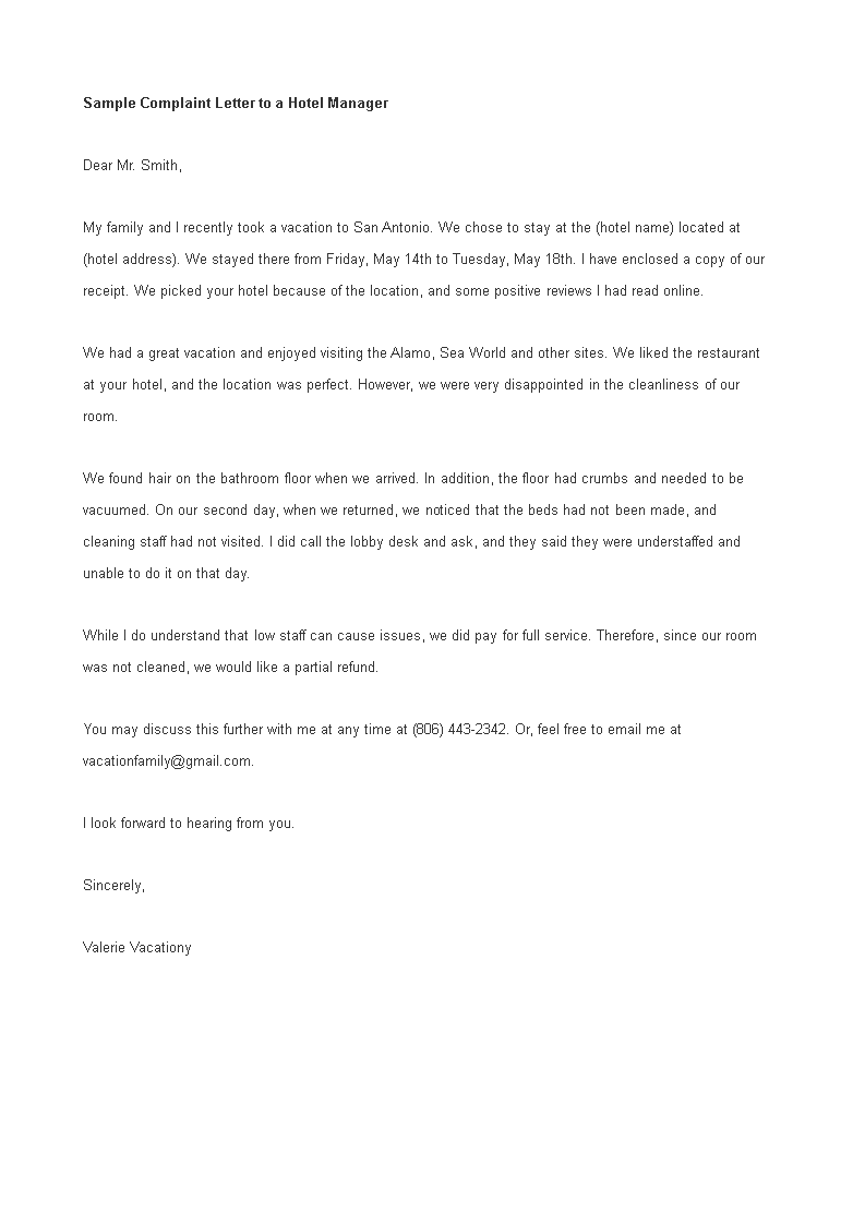 Free sample complaint letter to hotel manager templates at sample complaint letter to hotel manager main image spiritdancerdesigns Gallery