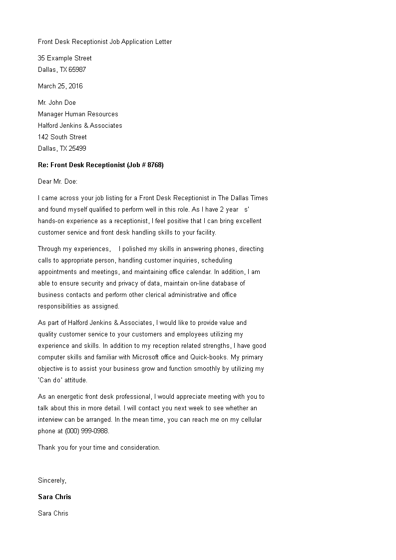 Cover Letter Example Receptionist from www.allbusinesstemplates.com