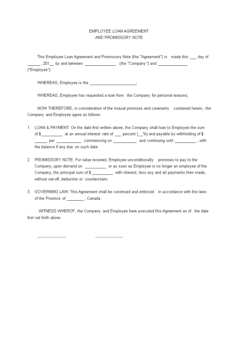 Free Employee Loan Agreement – Template Loan Agreement Free