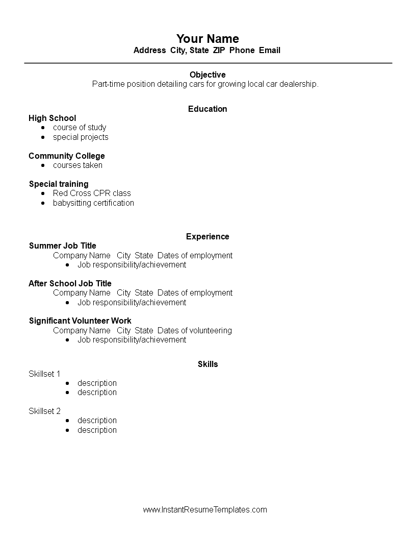Basic High School Student Graduate Resume Templates At
