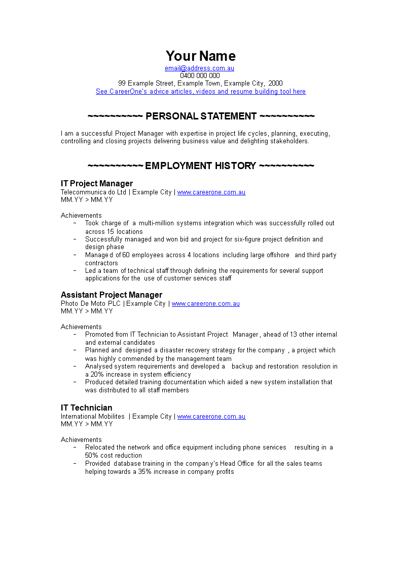 Prty Manager Resume | Free It Project Manager Resume Templates At Allbusinesstemplates