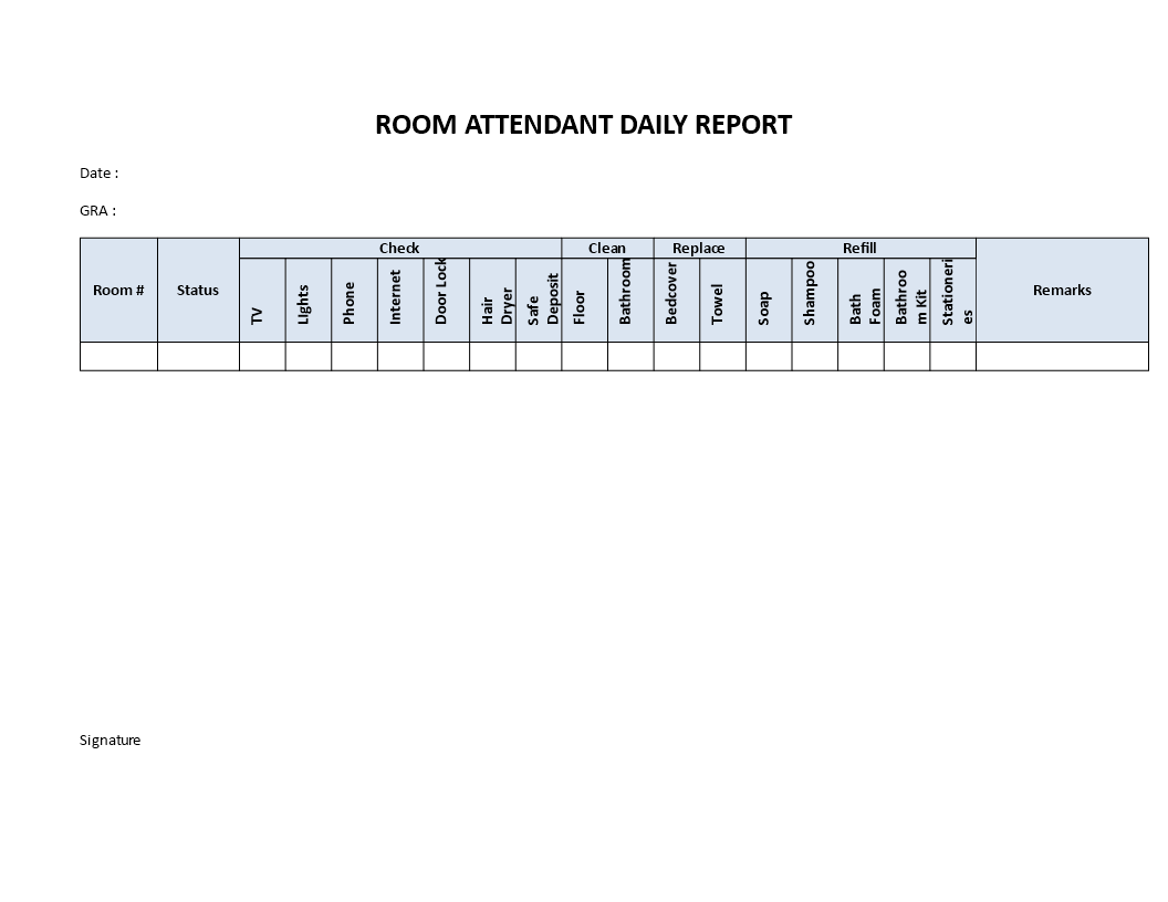 Hotel Room Attendant Daily Report main image