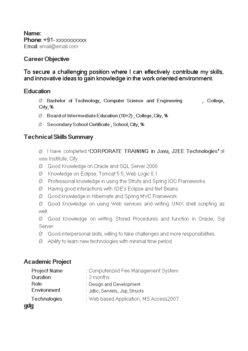 Free Java Fresher Resume