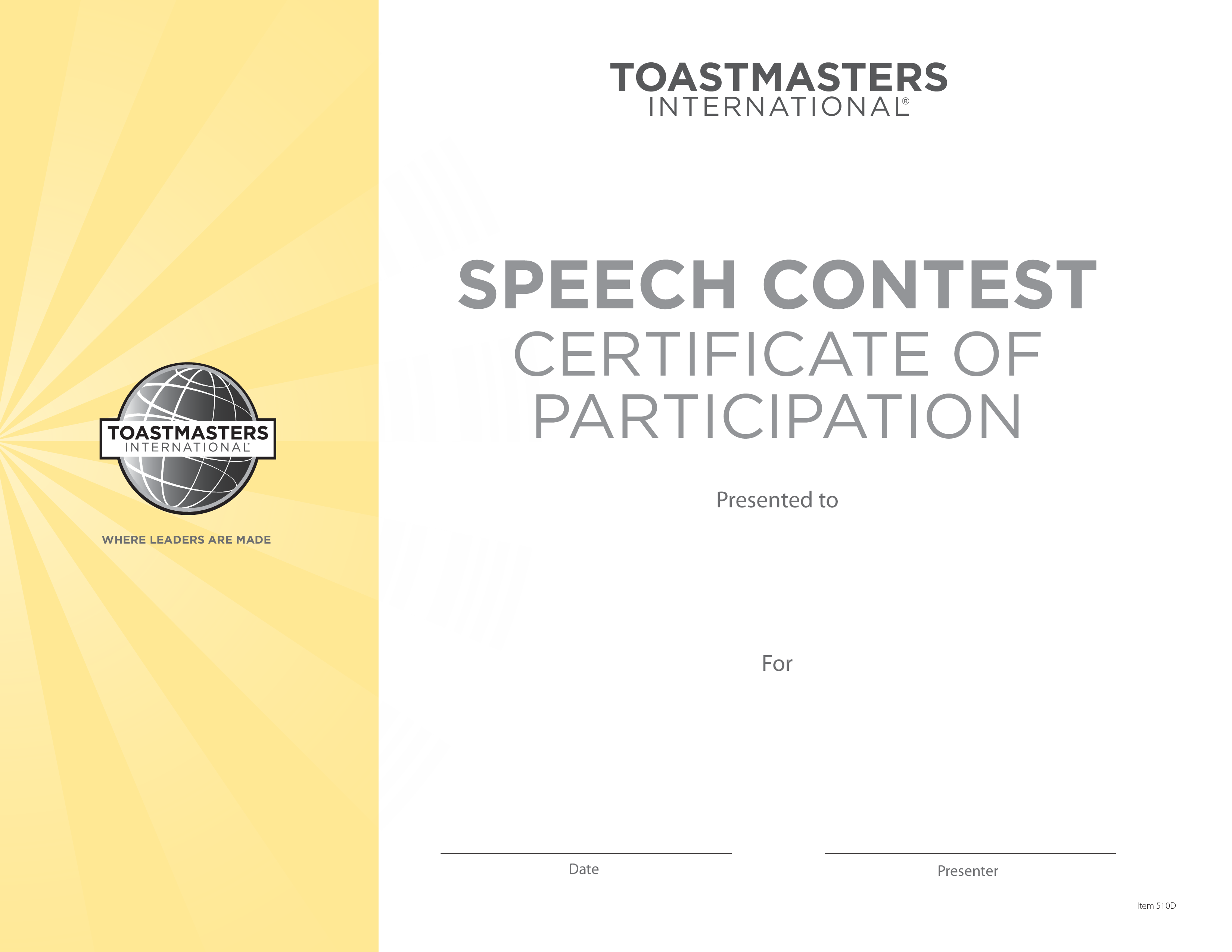 participant speech contest certificate main image download template