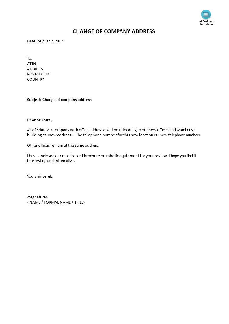 Change Of Address Letter To Customers from www.allbusinesstemplates.com