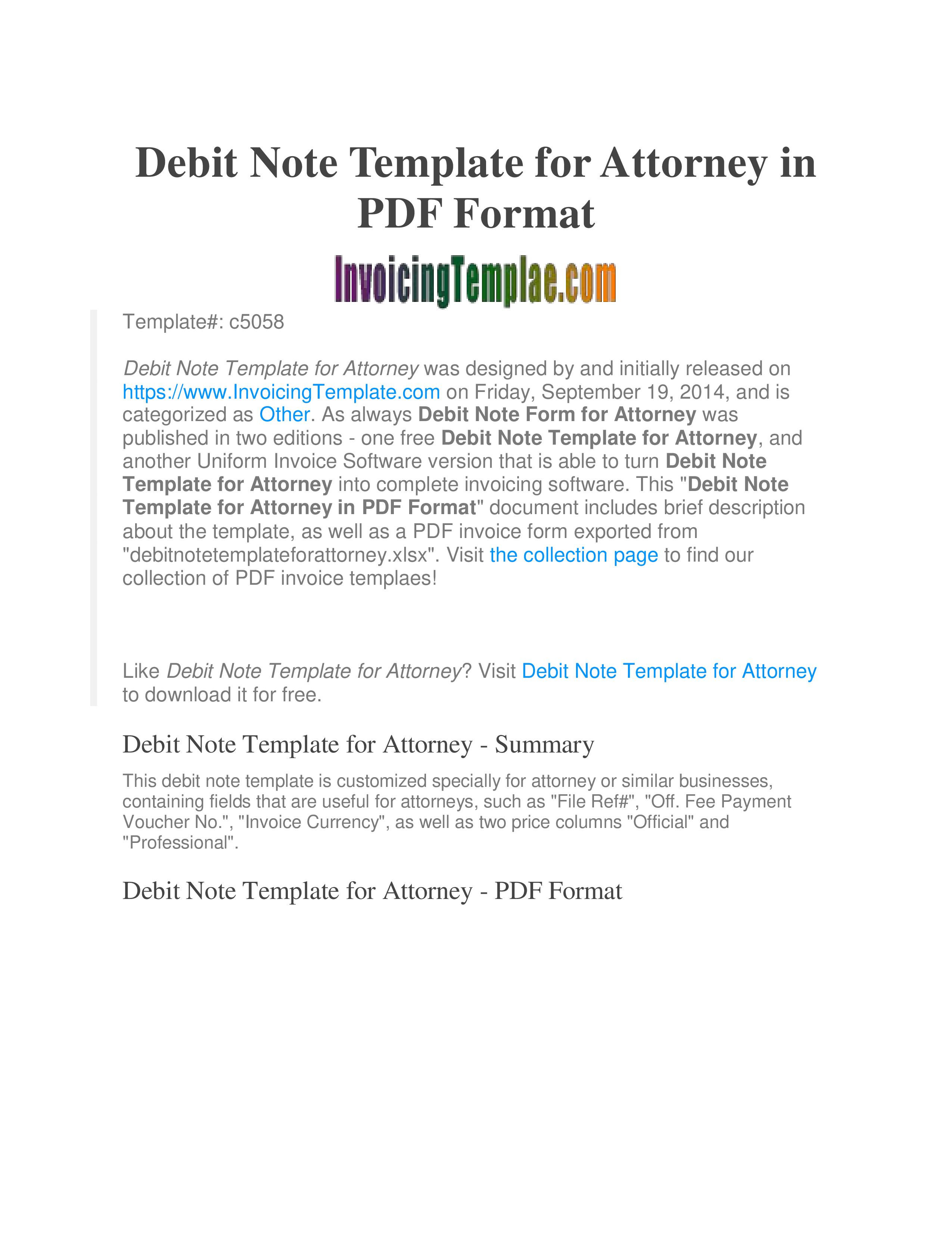 Debit Note Template For Attorney