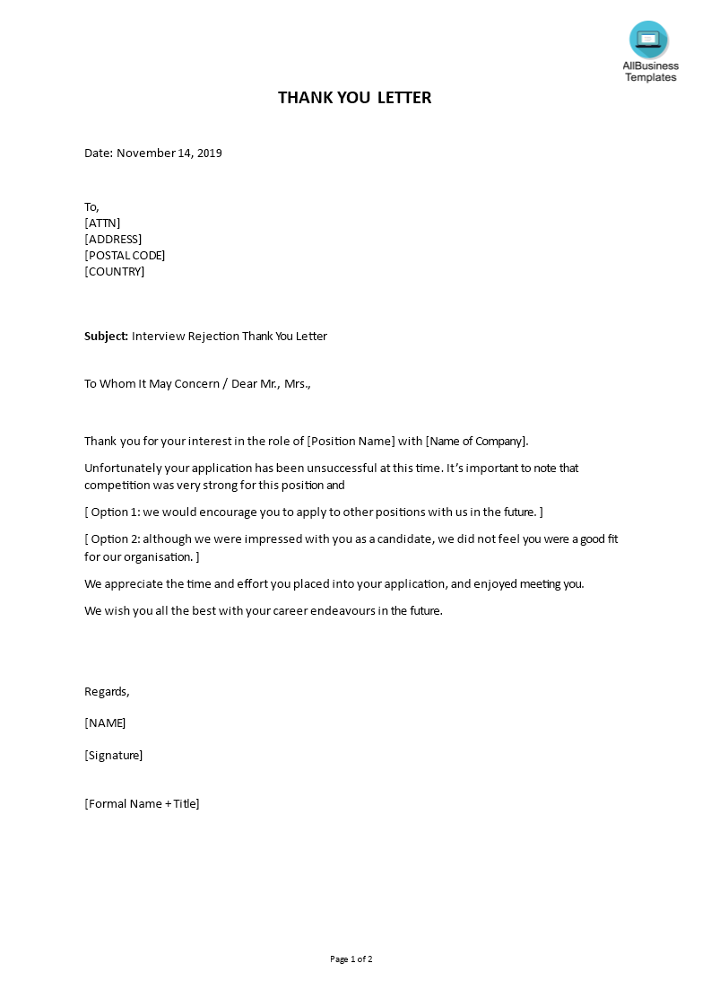 Rejection Letter Interview Job Candidate   Templates at ...