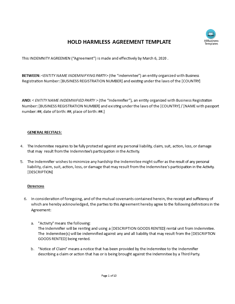 Hold Harmless Agreement Templates At Allbusinesstemplates