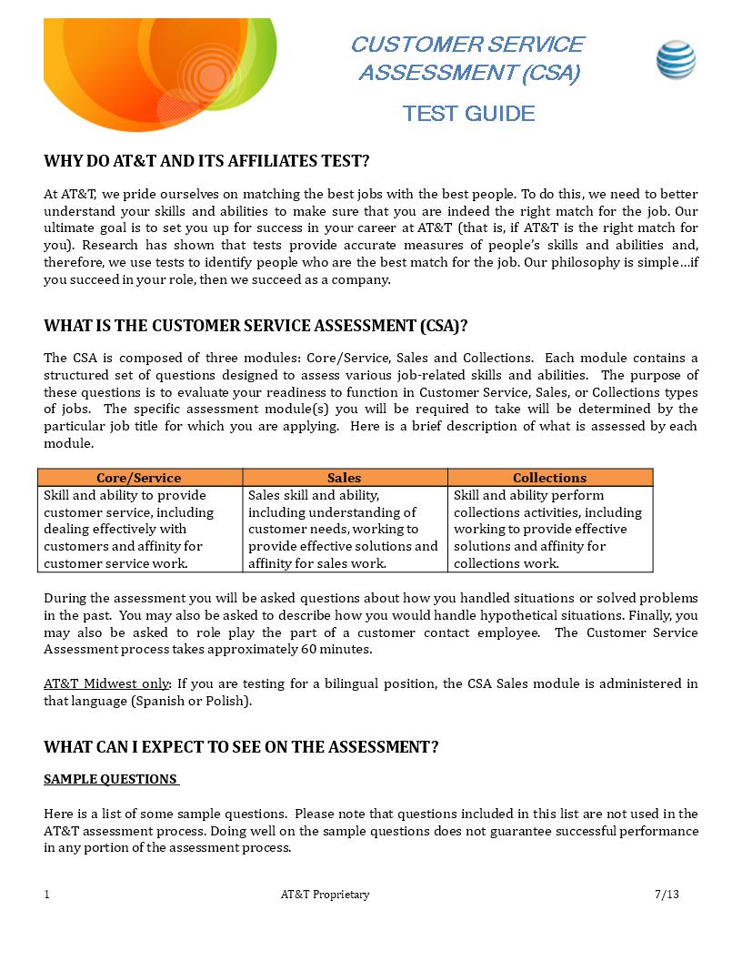 Customer Service Employee Assessment main image