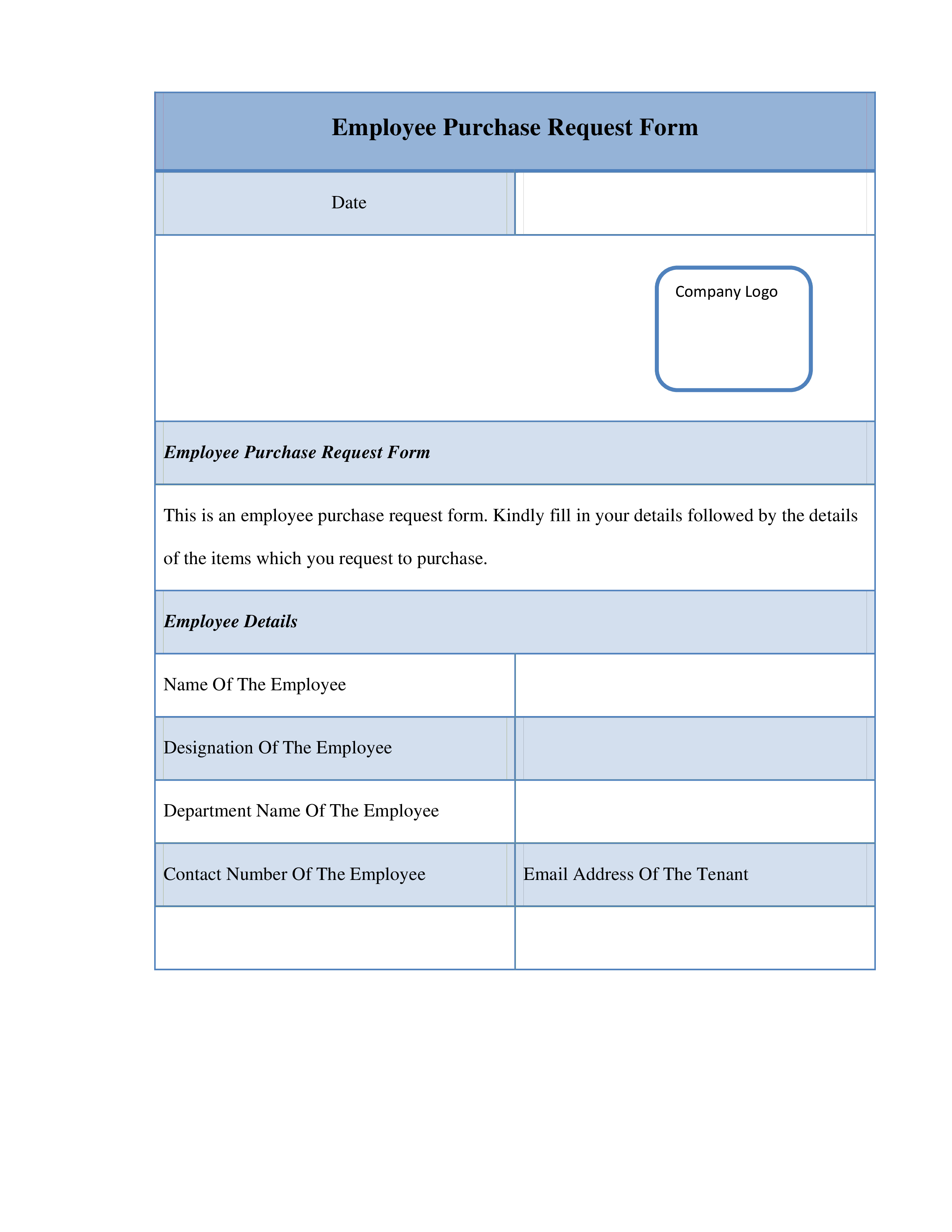 Free Employee Purchase Request Form | Templates at ...