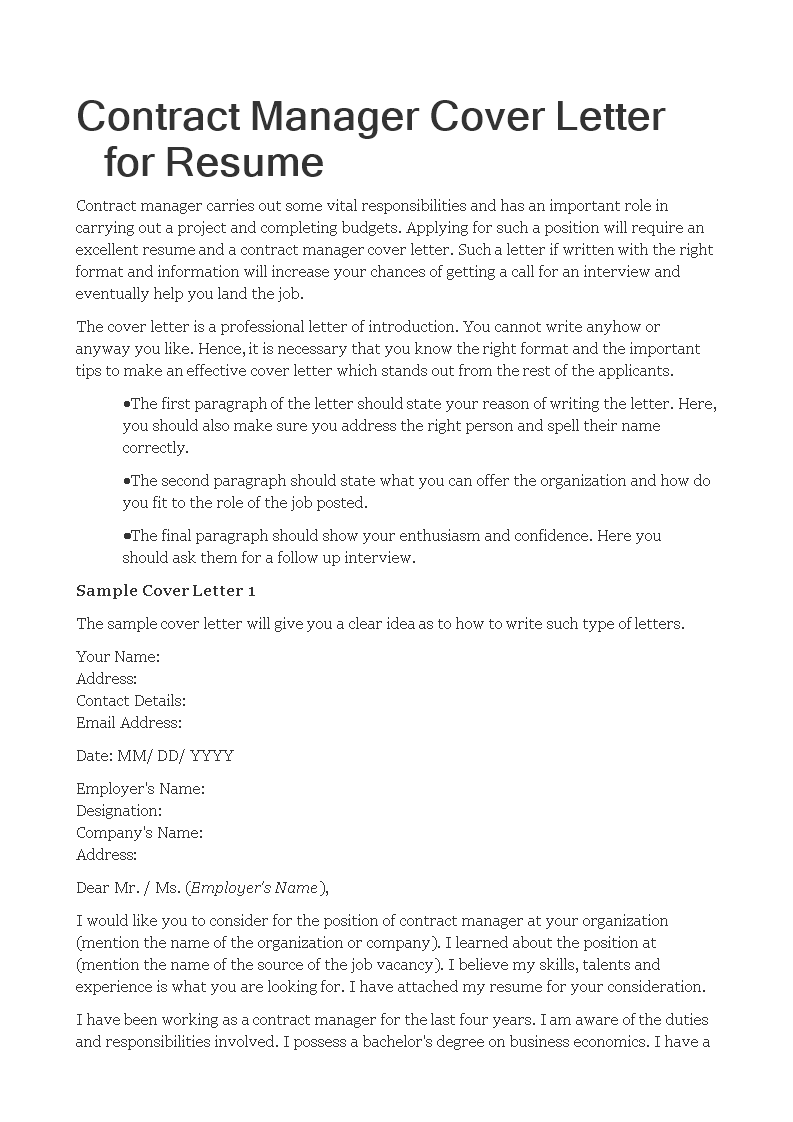 free contract manager cover letter for resume templates at