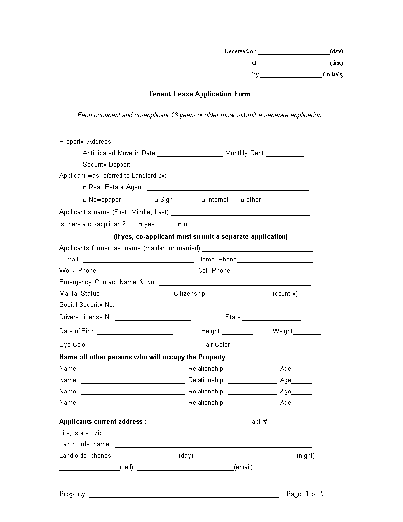 free tenant lease application form templates at