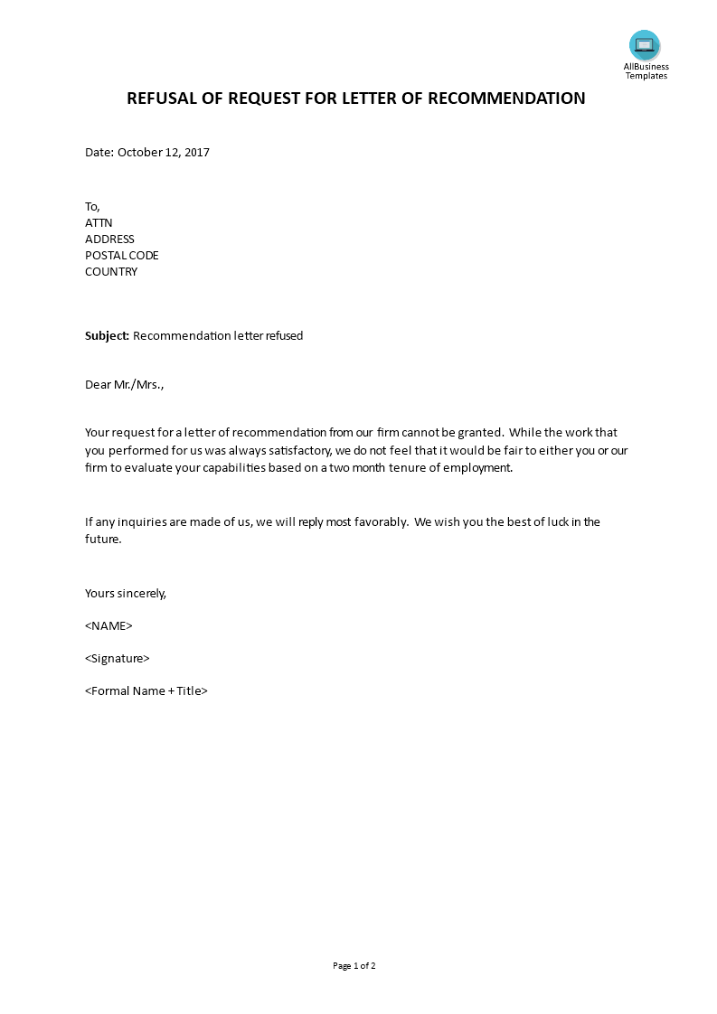 Requesting A Letter Of Recommendation Template from www.allbusinesstemplates.com