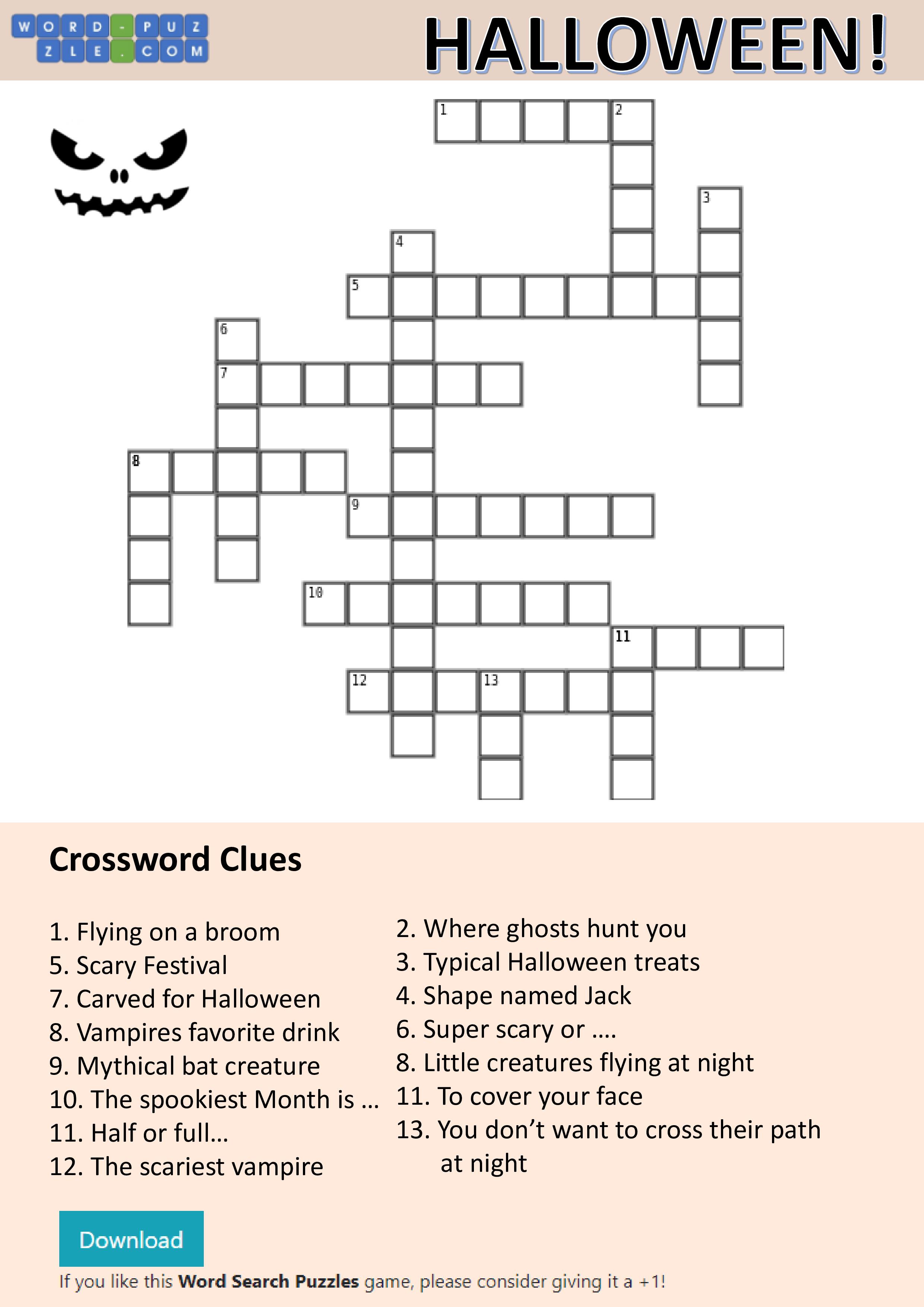 Free Halloween Crossword   Templates at allbusinesstemplates.com