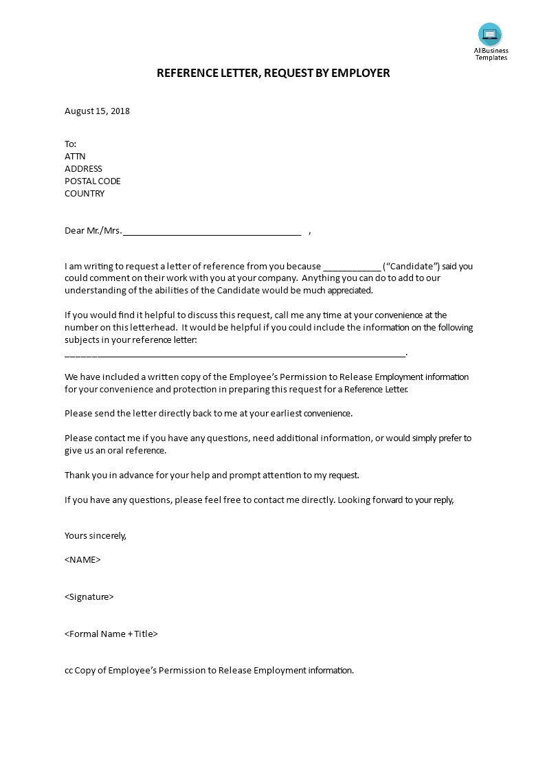 Reference Letter Request By Employer Templates At