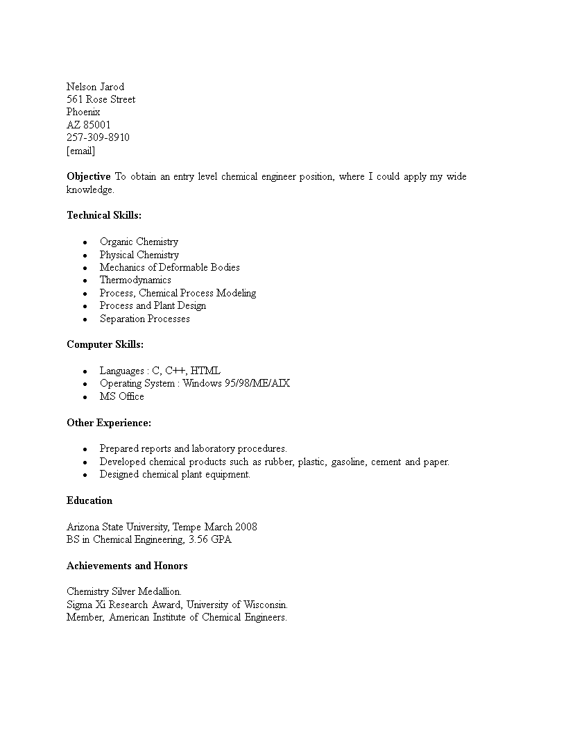 Entry Level Chemical Engineering Resume Template Main Image