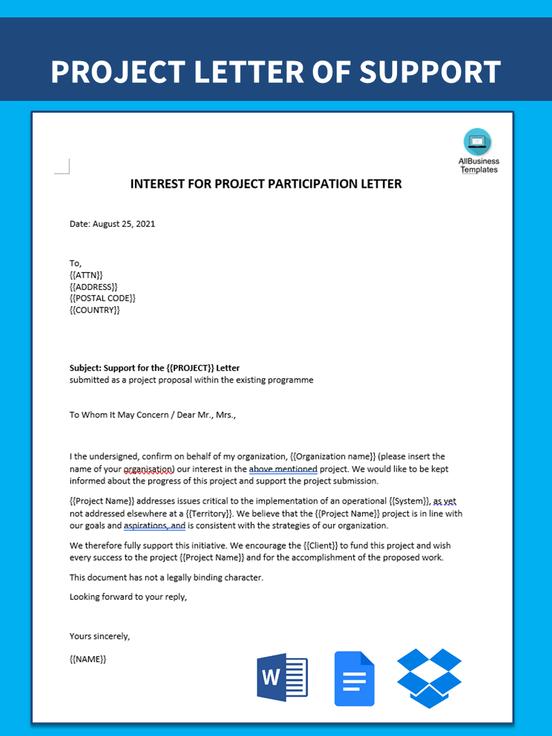 Letter of Interest for Project Participation Sample | Templates at