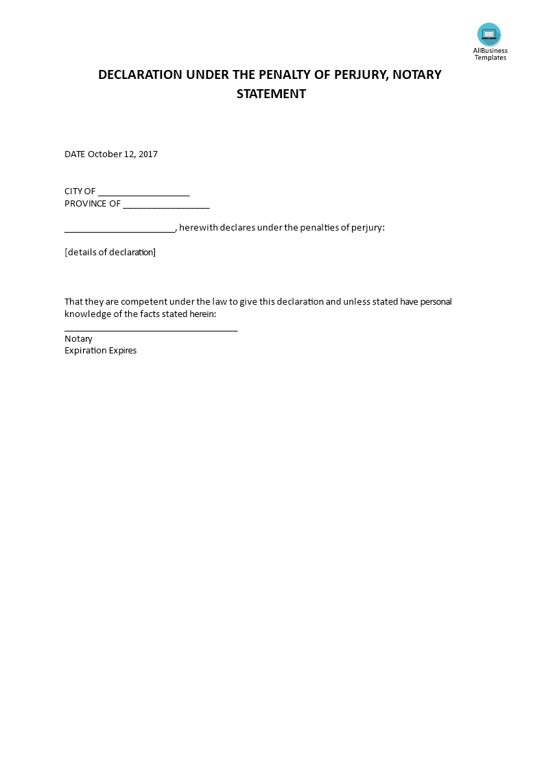 Declaration Under The Penalty Of Perjury, Notary Statement Main Image Get  Template  Notary Template