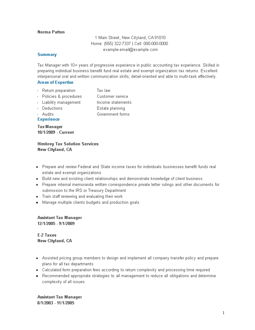 Free Resume Format For Taxation Manager | Templates at ...
