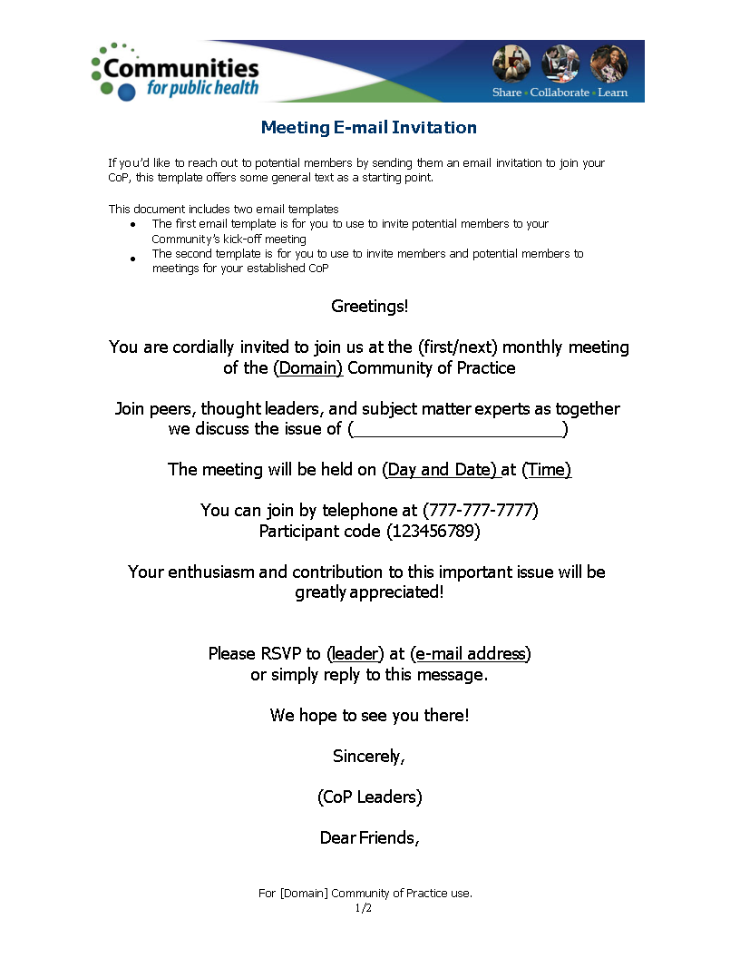 official meeting invitation email templates at
