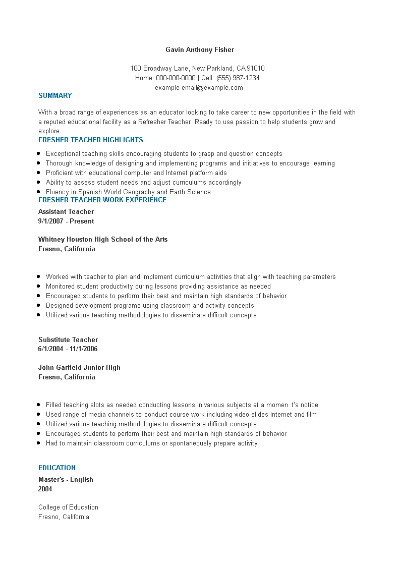 Fresher Assistent Teacher Resume Format | Templates at