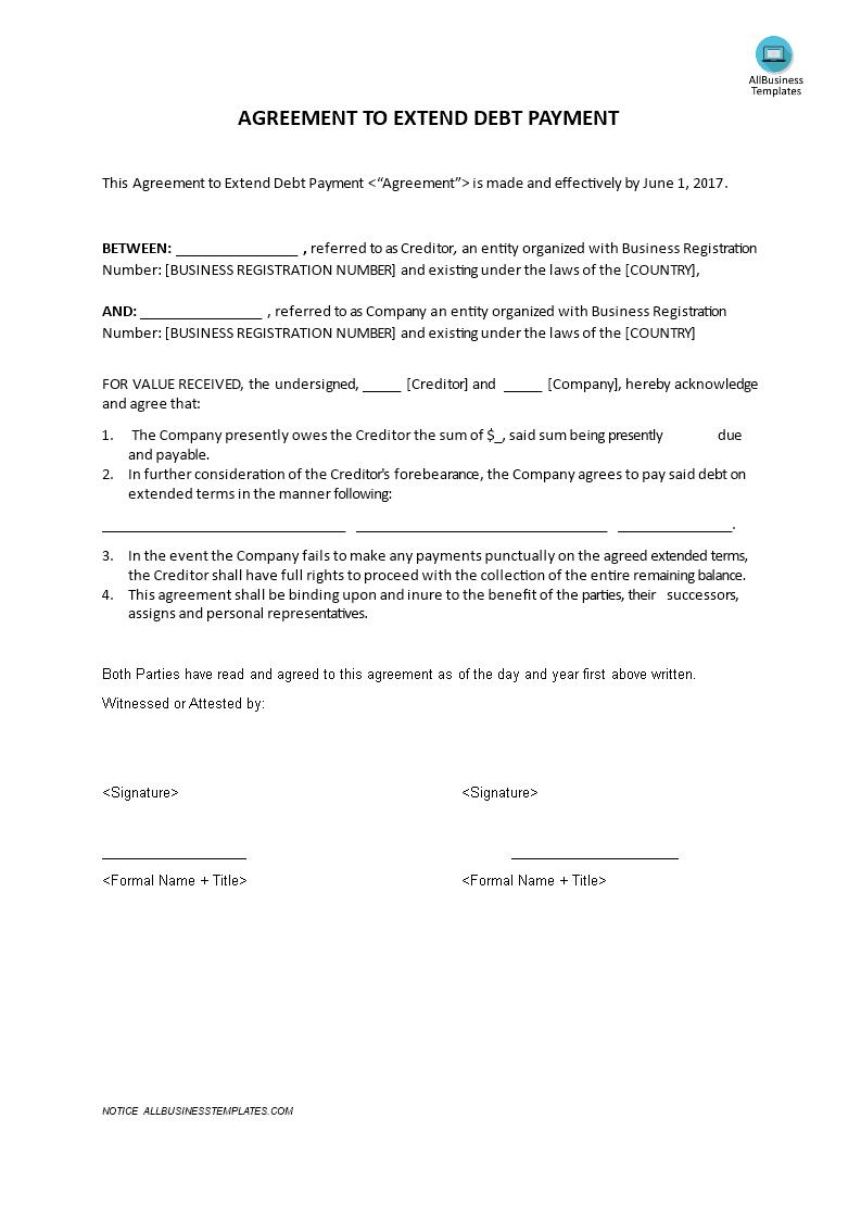 debt payment agreement