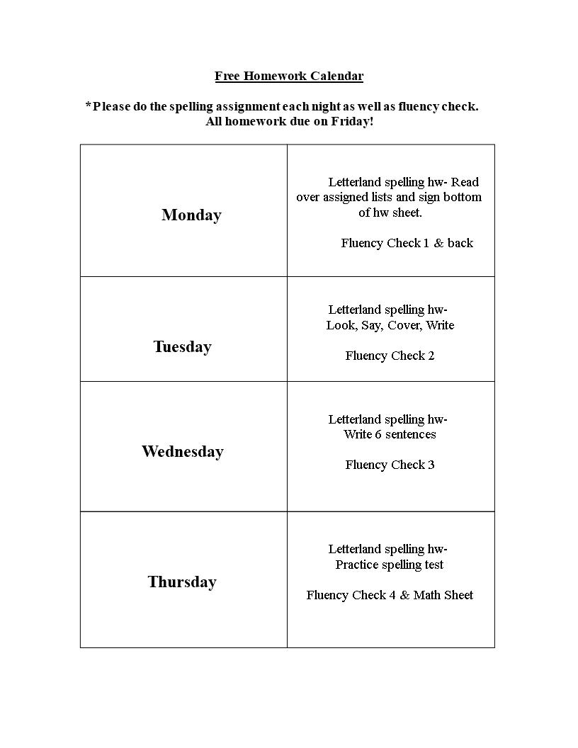 free homework calendar templates at