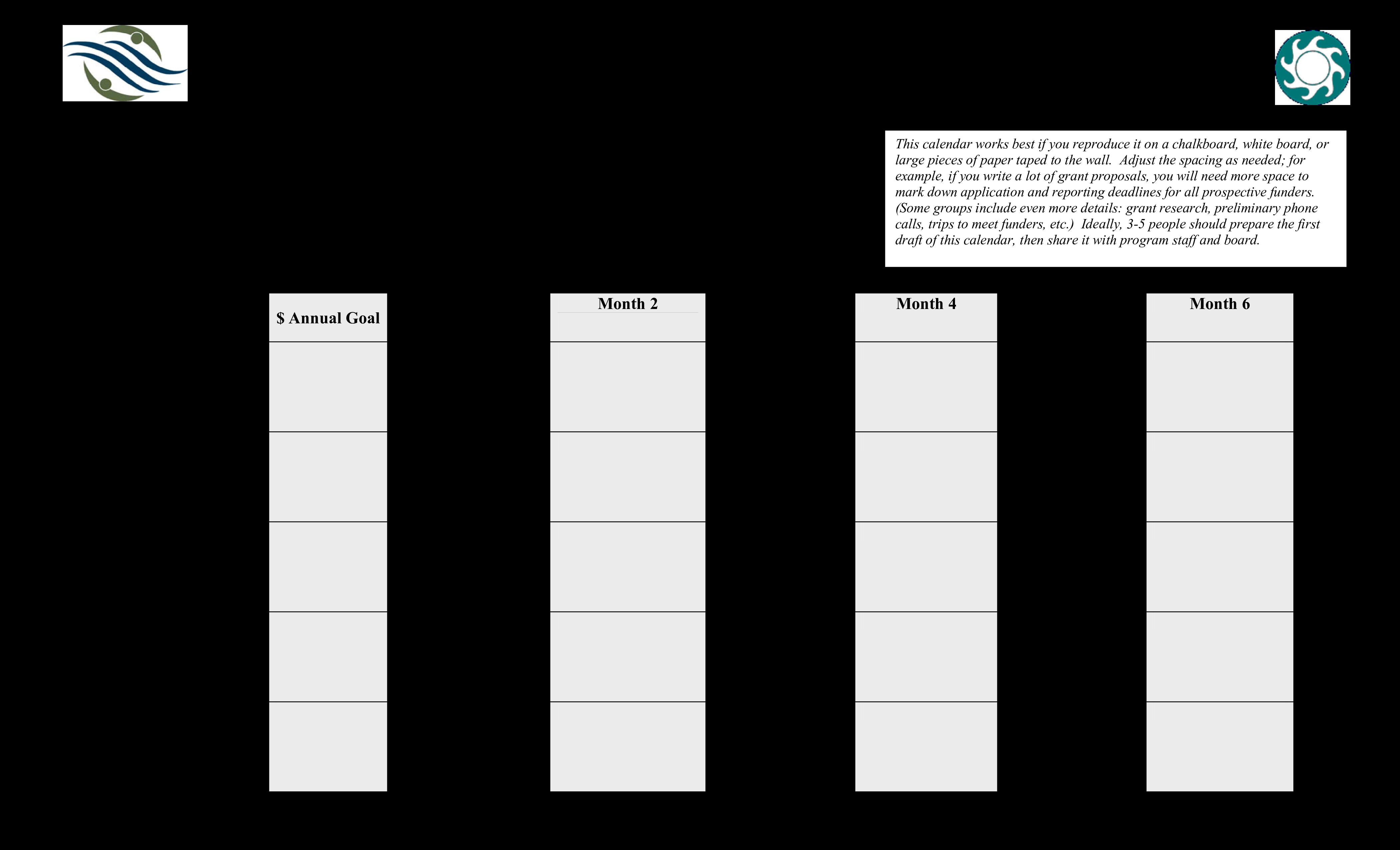 free fundraising calendar templates at
