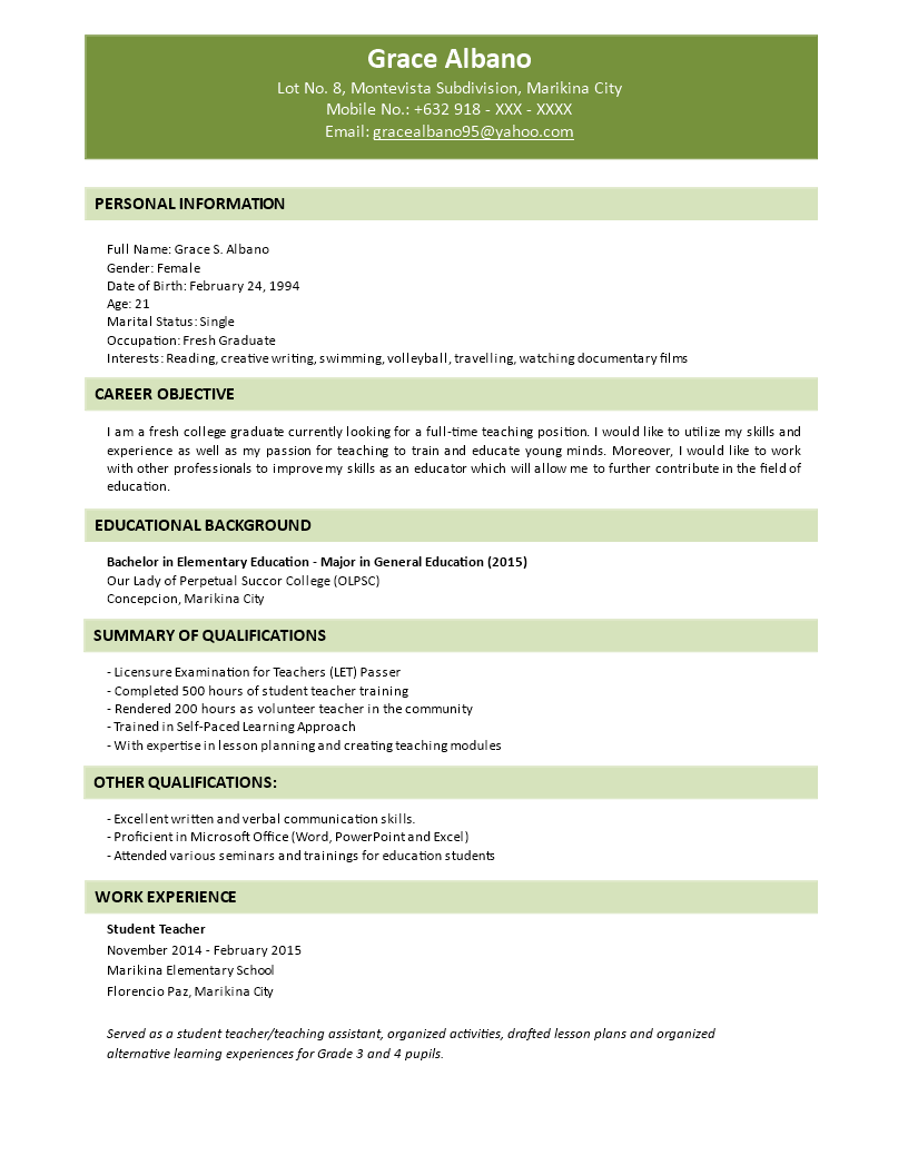 Fresher Graduate Resume Format Templates At
