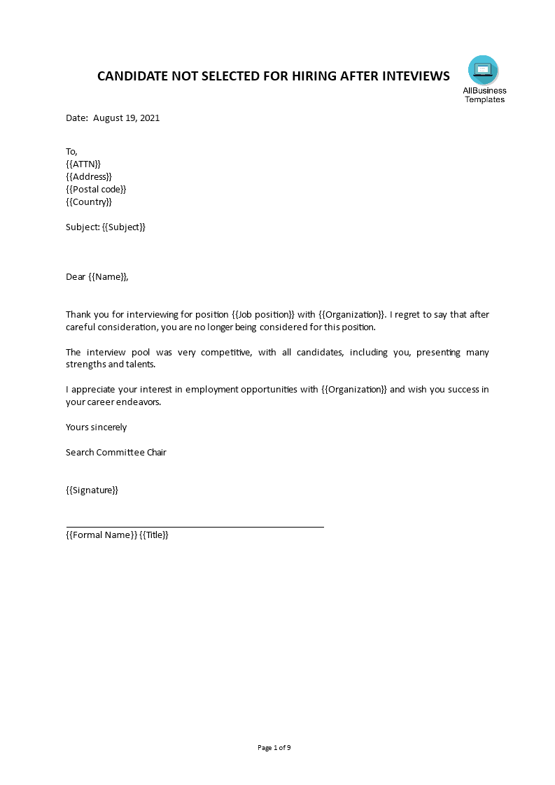 free rejection letter for job interview templates at