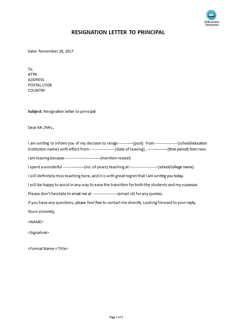 resignation letter to principal main image