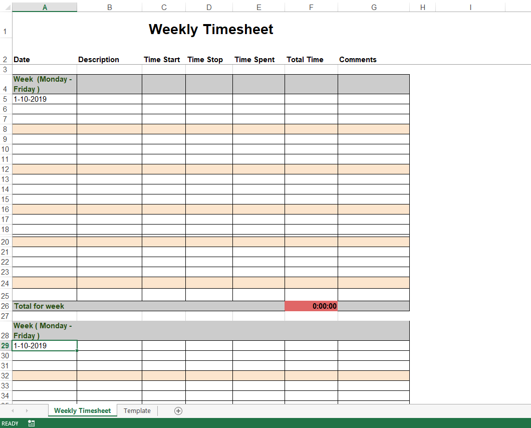 Weekly Timesheet Template in Excel main image