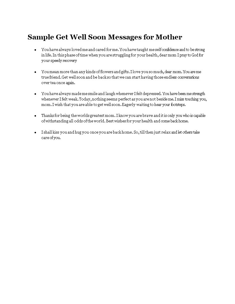 free sample get well soon messages for mother templates at