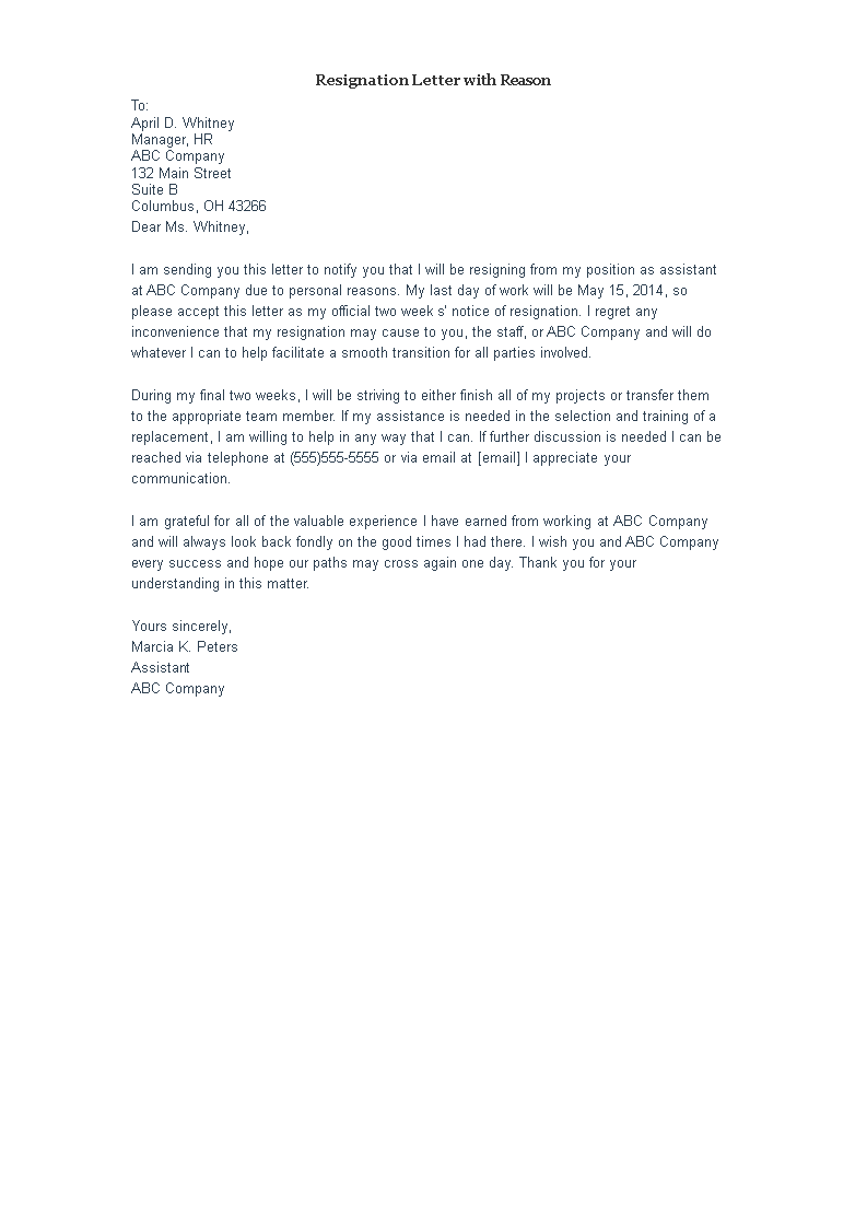 Formal Resignation Letter Format Sample With Reason main image