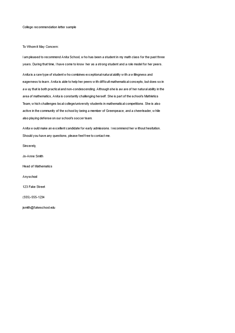 College Recommendation Letter Format  BarutHotelpuntadiamanteCo