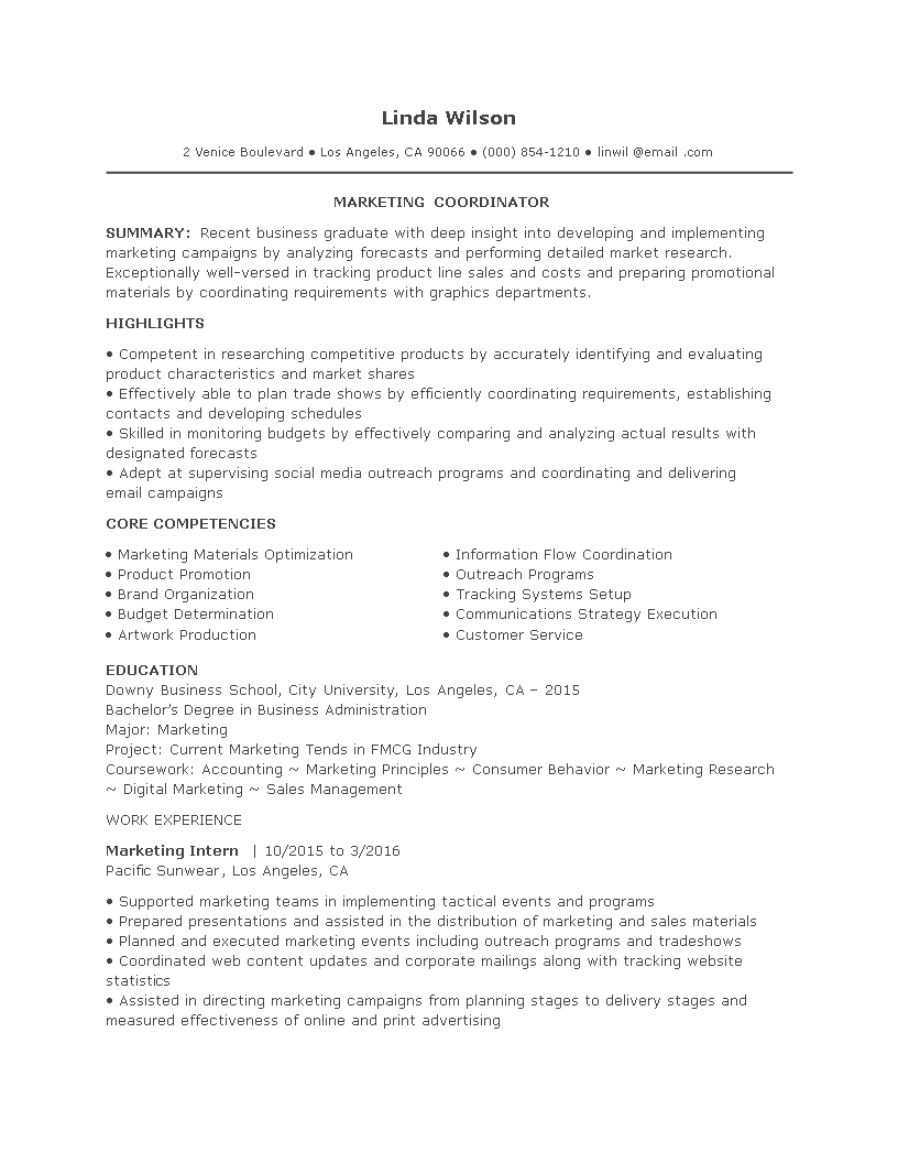 resume entry level template