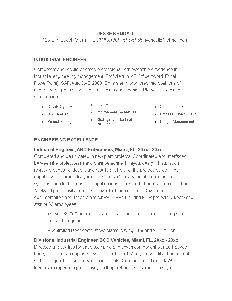 Free Industrial Engineering Resume Template Templates At