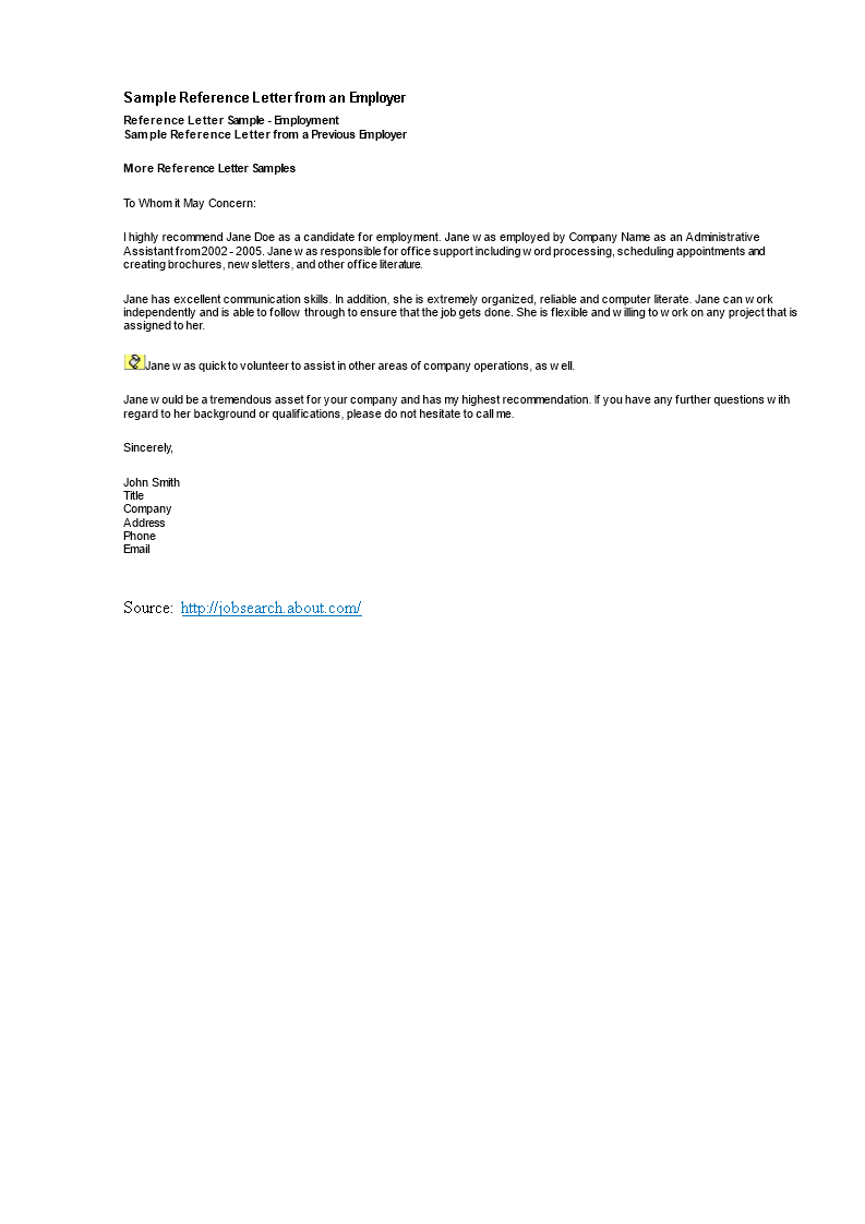 Administrative Assistant Reference Letter From An Employer
