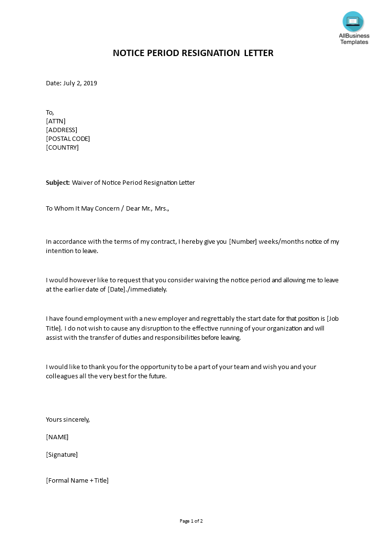 Formal Resignation Letter Sample With Notice Period from www.allbusinesstemplates.com