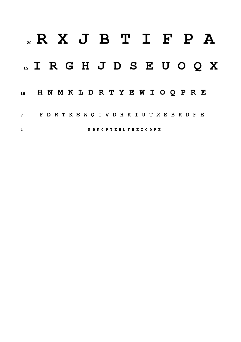 Free Snellen Eye Chart A4 Templates At Allbusinesstemplates