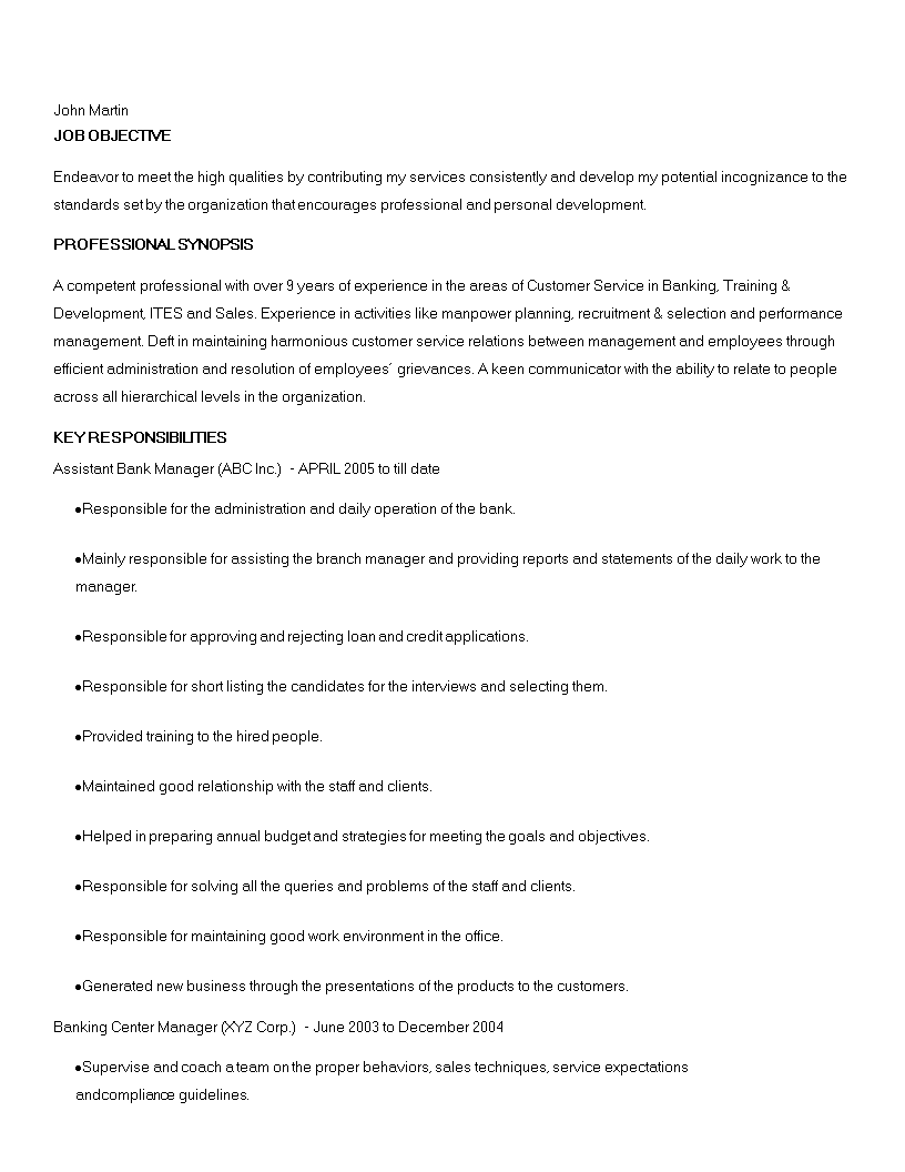Assistant Banking Manager Resume