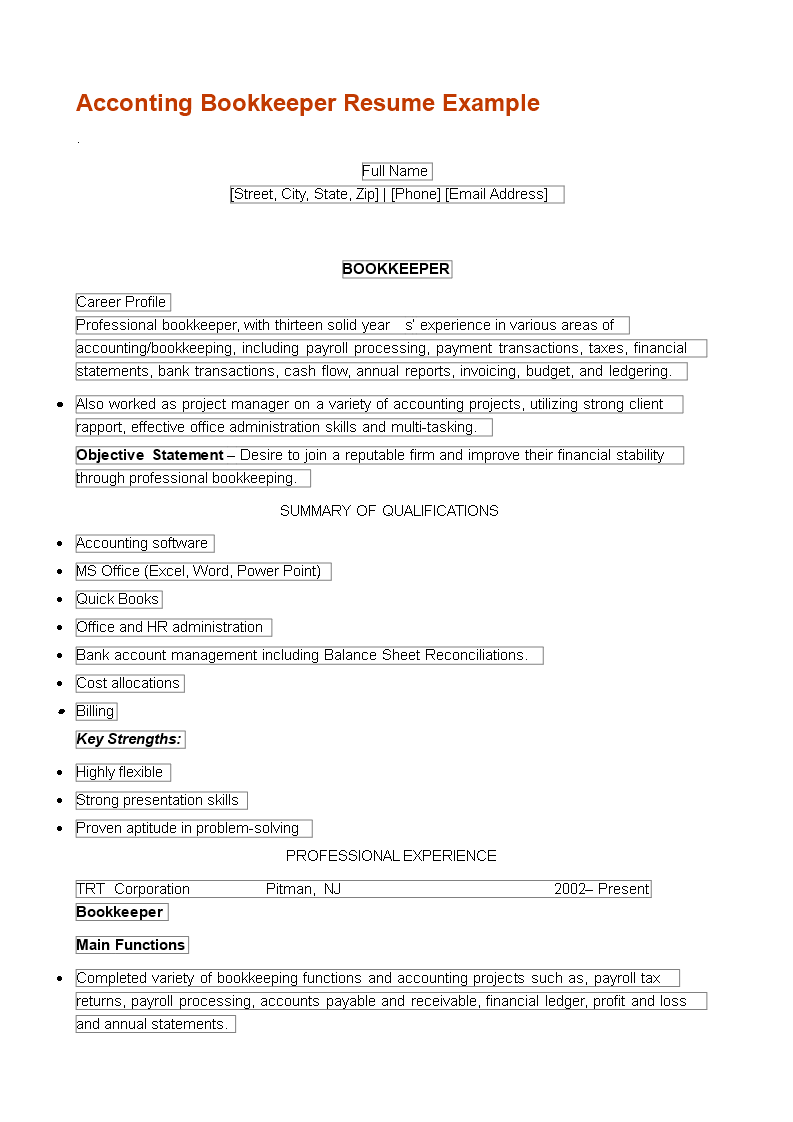 Accouting Bookkeeper Resume main image
