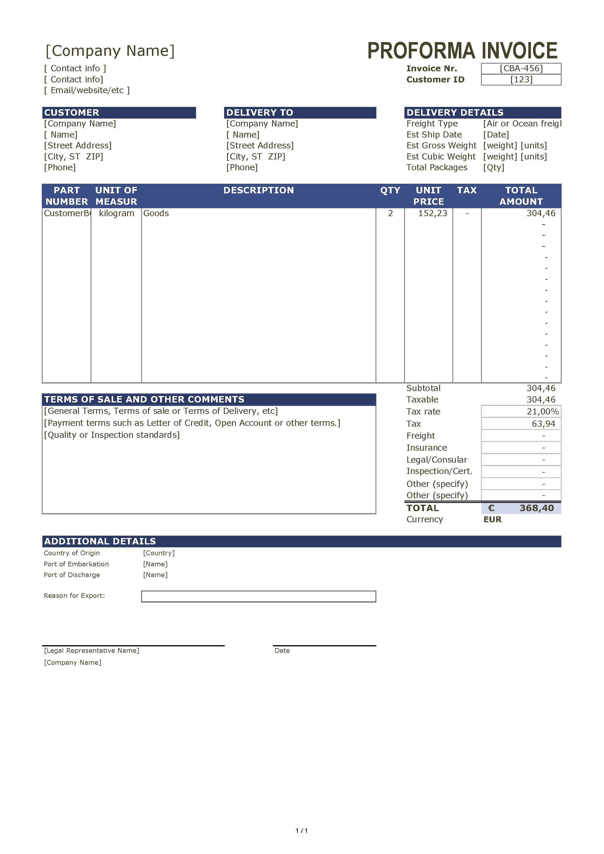 免费proforma invoice template template main