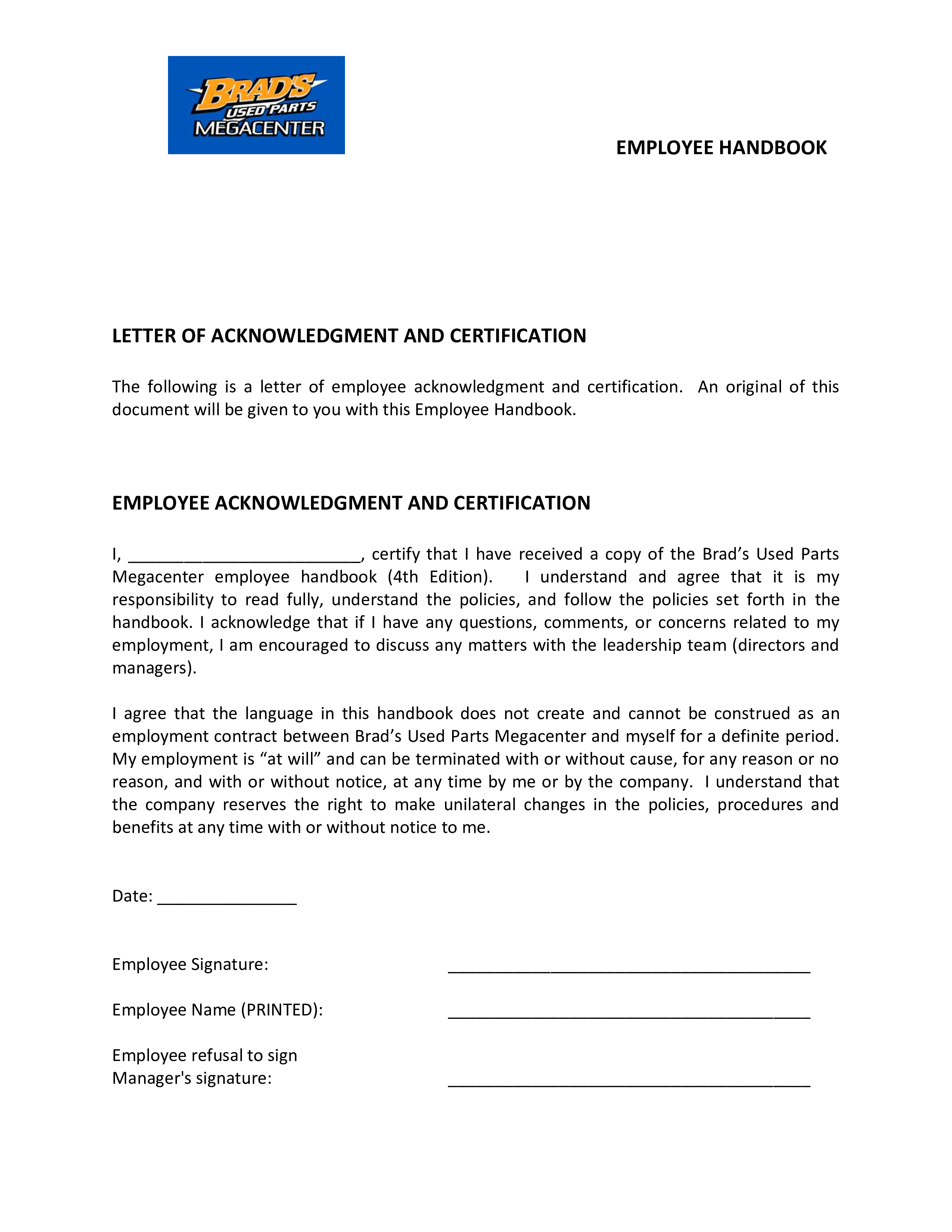 Employee Handbook Acknowledgement Letter main image