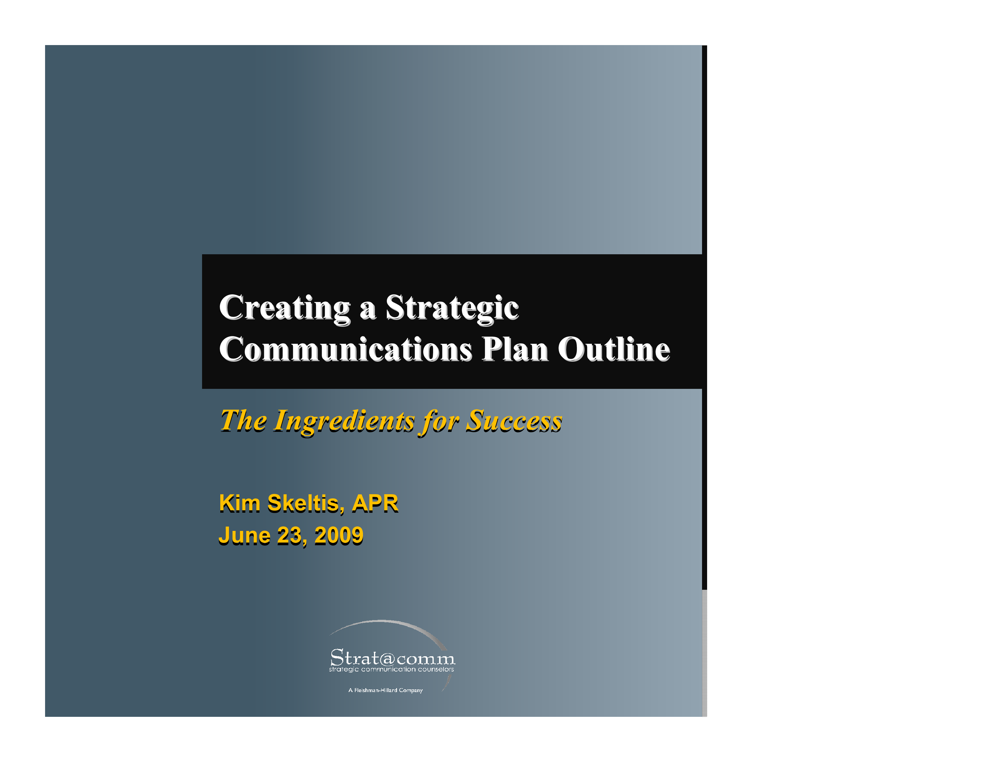 Free Strategic Communication Plan Outline Templates At