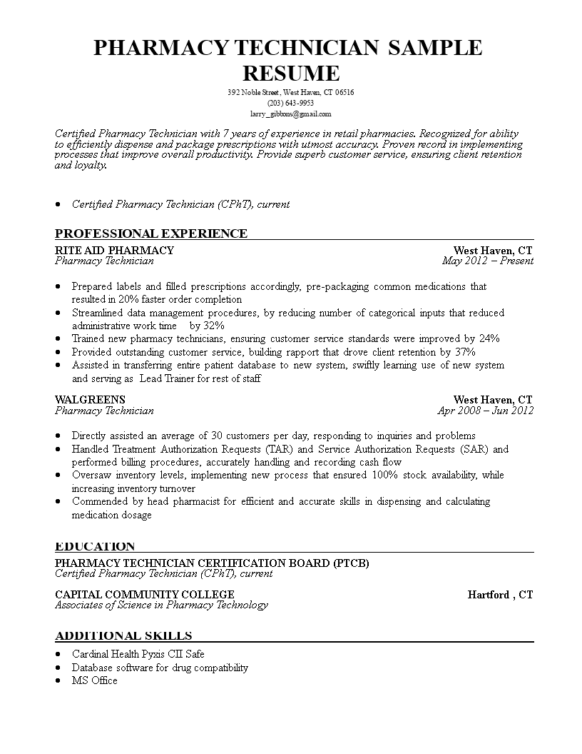 Free Pharmacy Technician Resume Sample Templates At