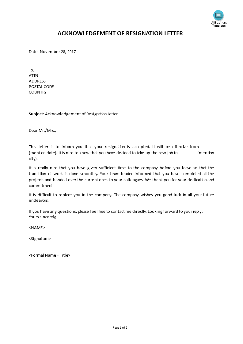 Free Acknowledgement Of Resignation Letter Templates At